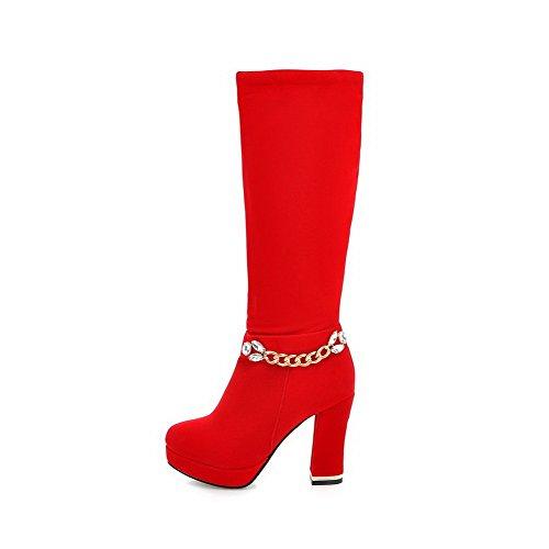 Odomolor Damen Mitte-Spitze Reißverschluss Mattglasbirne Hoher Absatz Rund Zehe Stiefel Rot