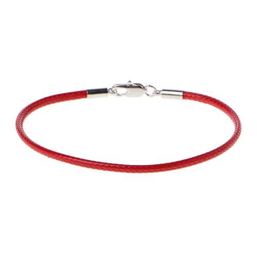 A0127 Bracelet femme Bracelet corde rouge Corde rouge de Kabala Cuir tressé Boucle de homard Bracelet porte-bonheur Bijoux de bricolage (Rouge)