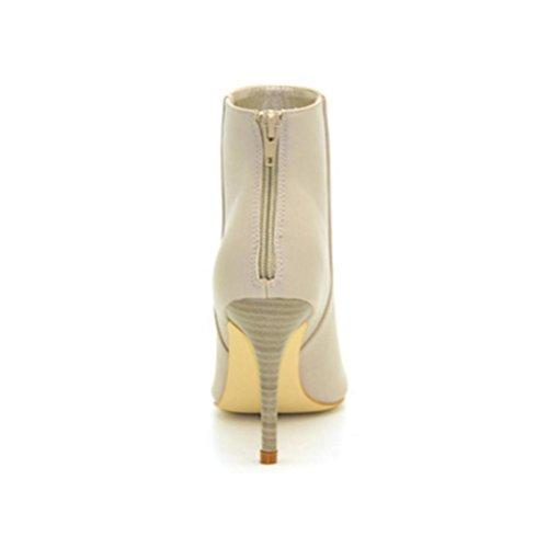 QPYC Stivaletti da donna con tacco sottile Stivali a tacco basso con zip a punta posteriore Stivaletti da donna con tacco alto in PU Beige