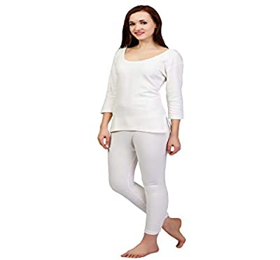 ZIMFIT Cotton Women's or Girls Winter wear Full Sleeves Thermal,Warmer Top,Bottom Set in White Colour (Pack of 1)