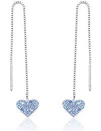 346e1ba4bfd4 Pendientes largos de plata de ley 925 con cadena lineal y circonitas  cúbicas azules brillantes para
