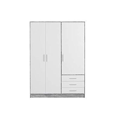 FORTE Kleiderschrank 3-türig, 3 Schubkästen, Holz, beton + Weiß, 144.6 x 60 x 200 cm