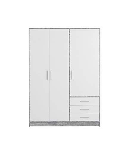 NEWFACE  Kleiderschrank 3-türig, 3 Schubkästen, Holz, beton + Weiß, 144.6 x 60 x 200 cm -