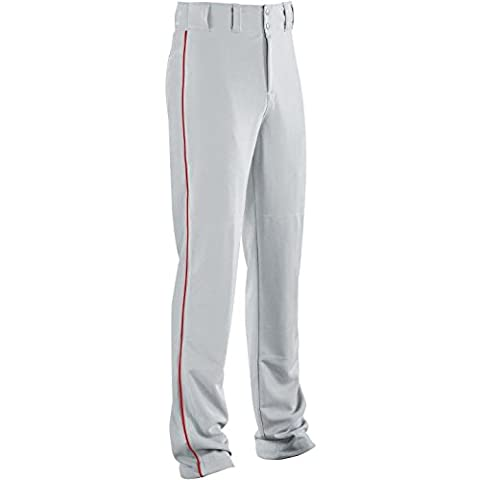 Youth Piped Classic Double-knit Baseball Pant 315051-SILVER GREY/SCARLET-S