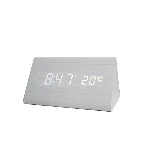 Wecker Hölz Digita Wecker LED Modern Tischuhr Stimmeaktiviert Elektrisch Wecker mit 3 Stufen Einstellbare Helligkeit Anzeige Uhrzeit Datum Temperatur...