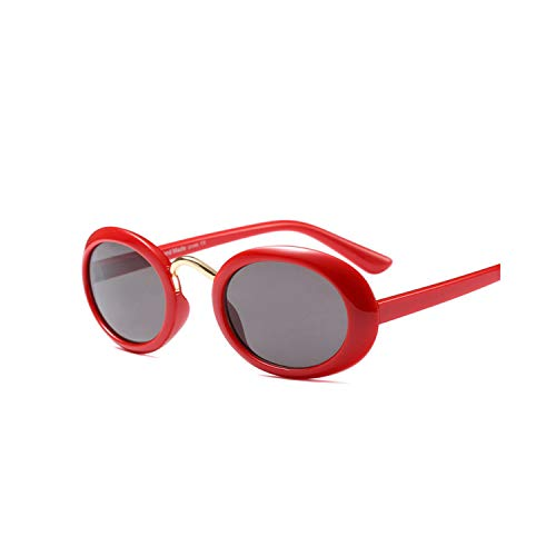 FGRYGF-eyewear2 Sport-Sonnenbrillen, Vintage Sonnenbrillen, Oval Sunglasses Women Men Retro Small Round Glasses Male Classic Clout Goggles Female Party Farbeful Lens Sun Glasses RED