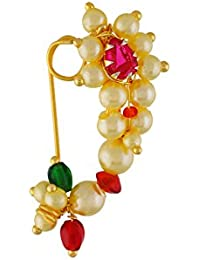 VAMA FASHION (Medium Size 2.2cm) Traditional Maharashtrian (Non-Pierced) Nath / Nose Ring Clip on type , Pink Colour Stone Along With Pearl Beads For Women.long With Pearl Beads For Women.