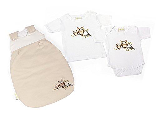 Neugeborenen Set unser Erstingsset in der dreier Kombination mit Babyschlafsack, Babybody und Baby T-Shirt zuckersüß mit Eulen oder Giraffe ÖkoTex zertifiziert (50/56, weiß mit Giraffe)