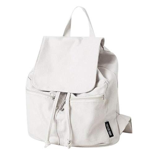OneMoreT lässiger einfacher Canvas Rucksack College Stil Reißverschluss Mädchen Schultaschen Marke Designer Damen Reisetaschen Mochilas Rucksack Daypack weiß