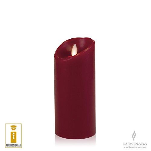 Luminara LED vela de cera con mando lisa burdeos 8 x 18 cm
