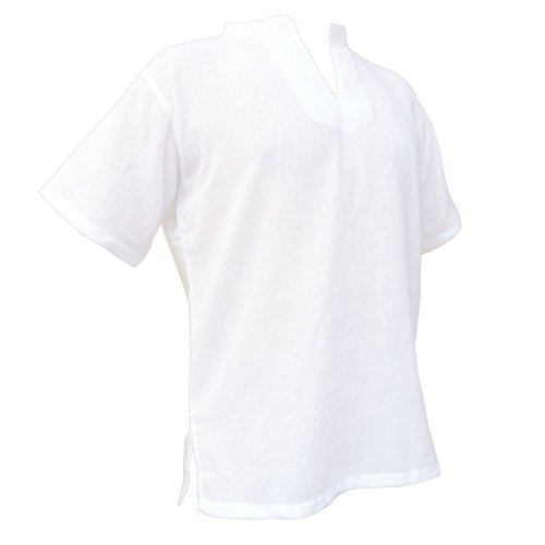 PANASIAM Sommerhemd, RZI-02, ohne Knopf, weiss, L, kurzarm