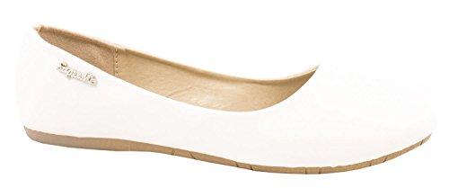 Elara Damen Ballerinas | Bequeme Freizeitschuhe | Flache Slip-Ons Farbe Weiss, Größe 42