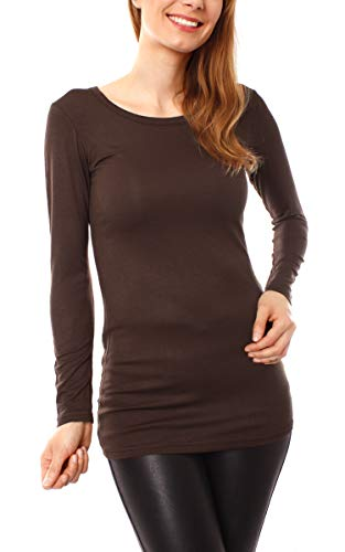 Easy Young Fashion Damen Langarm T-Basic Shirt Lang Longshirt Langarmshirt Unterziehshirt Minikleid Unterkleid Rundhals Uni Dunkelbraun S/M