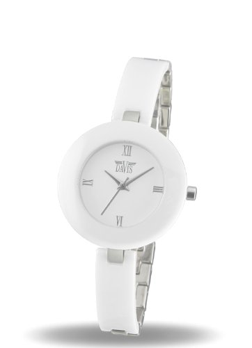Davis 1851 - Womens Design Watch Ceramic White Dial Ceramic and Steel Strap