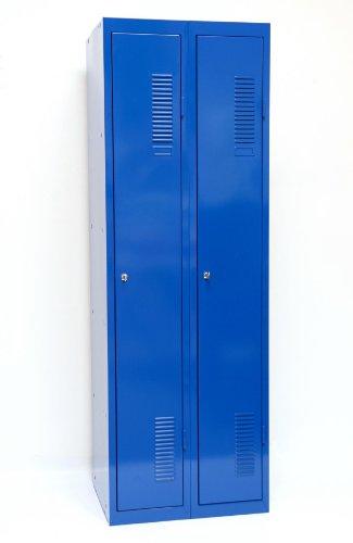 SPIND-2 (Doppel) 180x60 cm, 2 Böden, Zylinderschloss (RAL5010) blau (Kleiderspind Garderobenschrank...