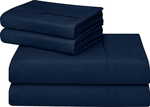 Jose Farmer Bettwäsche Hotelqualität Fadenzahl 1000100% ägyptische Baumwolle Ultra Soft 4Stück Bed Sheet Set Fitt bis 38,1cm Deep Pocket Set (King, Navy Blau, Massiv) (20-zoll-pocket-king-blatt)