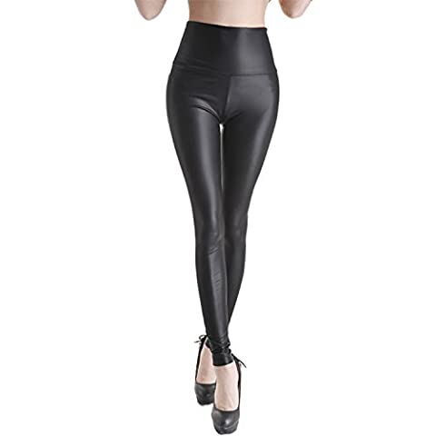Stylish & Fit SEXY Womens Faux Leather High Waisted Leggings (2XL, Dark Black)