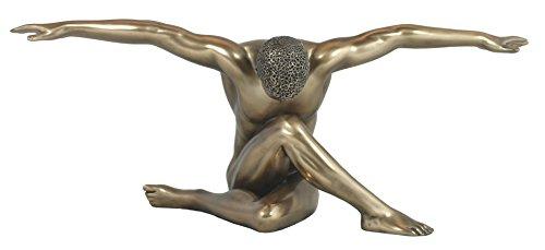 Dekofigur Körperkulturen Akt nackter Mann sitzend erotische Dekoration Nacktfigur - Nackt Bronze