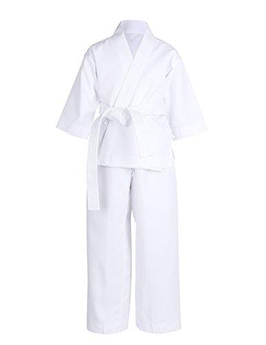 YiZYiF Bambini Kimono Karate Basic Completo da Karate in Cotone Unisex 3 Pcs Giacca+Pantaloni+Cinturino Bianco in Cotone Vestito da Karate Allenamento Performance Bianco 8-10 Anni