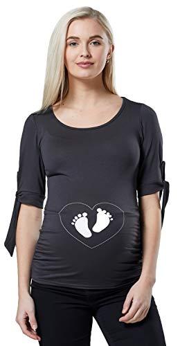 Gedruckt Jersey Tunika (Happy Mama Damen Mutterschaft Baby Füße Gedruckt Bauch Top Jersey Hemd 186p (Graphite & Blanc, EU 44, 2XL))