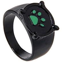 Kalttoy Miraculous Ladybug Cat Noir - Anillo para cosplay, diseño de gato con huellas verdes
