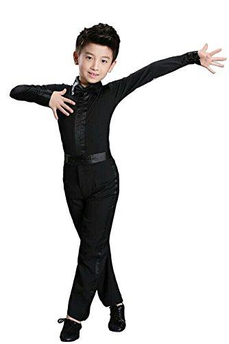 KINDOYO Jungen Klassiker Latein Tanz Hemd Kostüme Kinder Performance Tanzen Outfits , Schwarz , 140/Geeignete ()