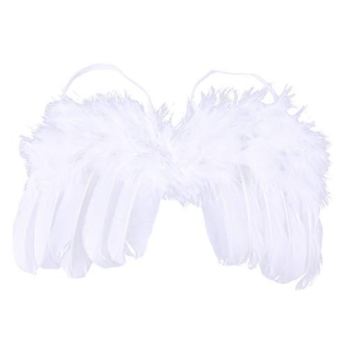 Engel Federflügel Fotografie Requisiten Baby Foto Prop Natürliche Engel Federflügel Kostüm Foto Prop Outfit ((Weiß) ()