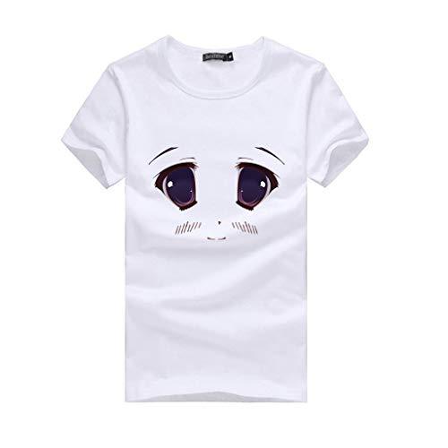 Lonshell Damen 3D Witziges Brüste Lustige Print T-Shirt Kurzarm Sommer Shirt Bluse Tops Lässige Blusen Tunika Oberteile Kostüme für Erwachsene
