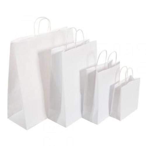 We Can Source It Ltd Papiertüten mit gedrehten Griffen, Weiß, Large (32x12x41cm)