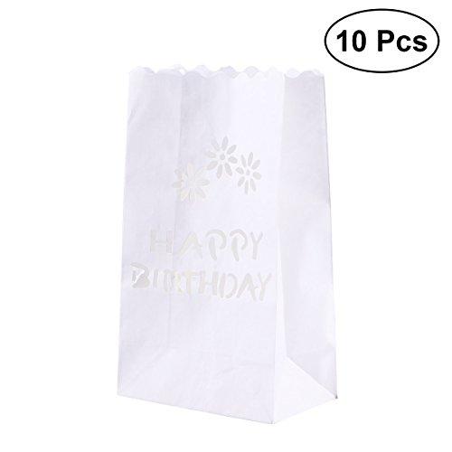 Mobestech Happy Birthday Papier Teelicht Kerze Laterne Taschen Party Decor 10Pcs (Weiß)