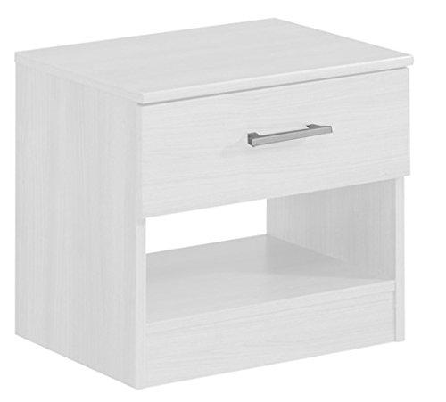 Hogar24 - Mesita de noche color Blanco 1 cajón y estante, medidas 50 x 44 x 36 cm de fondo