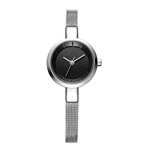 WANSIRUI Analoge Klassische Damen Quarzuhr mit Edelstahlarmband, rundes weißes Zifferblatt 3ATM Waterproof Lady Wrist Watch (Color : Black) -
