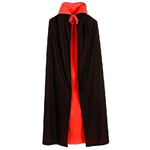 Lumiere Schwarze Halloween Robe, Unisex Reversible Hooded Cloak Cape für Weihnachten Halloween Party Vampires Cosplay - Hooded Robe Kostüm Muster