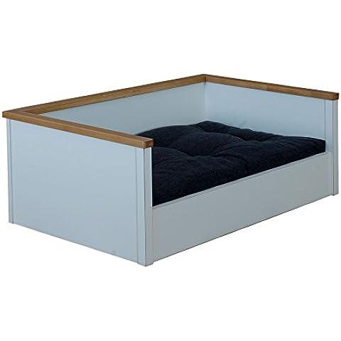 Perros cesta/cama para perros de madera con cojín, tamaño L, color blanco