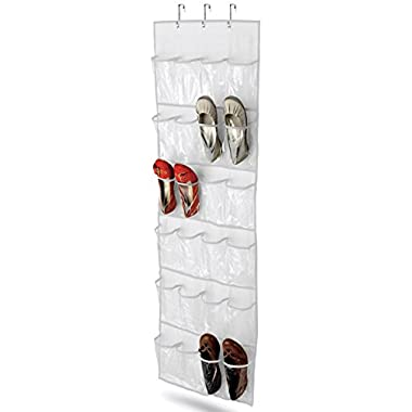 Wander Agio 24-pocket Over-the-door Womens Shoes Kids Hanging Accessories Closet Organizer White