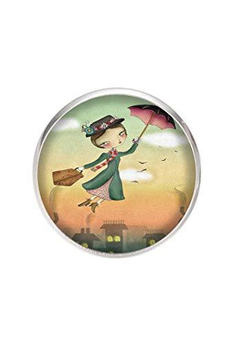Edelstahl Brosche, Durchmesser 25mm, Stift 0,7mm, handgemachte Illustration Mary Poppins