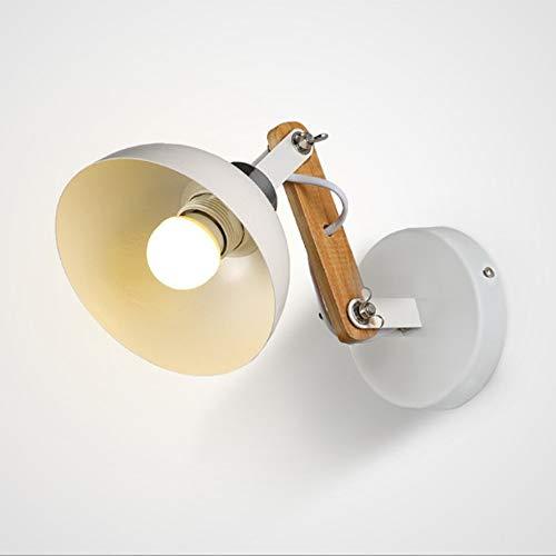 Glighone Applique Murale Lampe de Chevet E27 Moderne Luminaire Design Bois en Fer Métal Pliable Flexible pour Chambre à Coucher Lit Couloir Bureau Lecture de Nuit Blanc