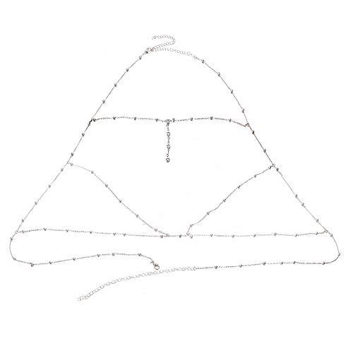 Aozuo Europa und Amerika Sexy Ubertriebene Strand Casual Body Bekleidungskette Accessoires Flash Drill Pendant Tassel Halskette Chain,Silver