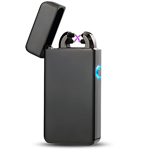 Briquet USB rechargeable Briquet arc Briquet électronique Briquet métal Plasma électrique USB Briquet Electric Lighter Saint-Valentin cadeau pour (Noir)