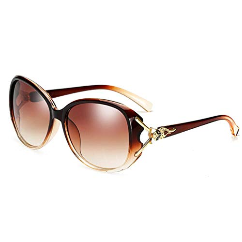Fox Bein sexy Frauen Markendesign großen Rahmen Gradienten Objektiv schwarz Sonnenbrille weiblich Hochwertige Oversize Shield Sonnenbrille, Braun