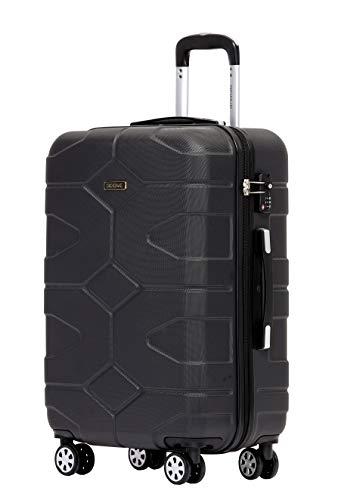 BEIBYE - TSA Schloß 2035 Hartschale Reisekoffer Koffer Handgepäck Trolley (Schwarz, M) - Kunststoff Schwarz Messenger Bag