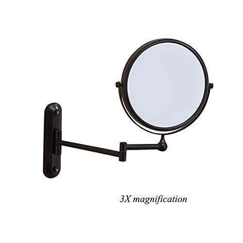 Wandlicht Lampe Hand Glasses Wandhalterung Make-up Spiegel 3X Vergrößerungskosmetikspiegel 360 & Deg;Swivel Ausziehbare Zwei-seitig Schwarz Folding Vergrößerungs Double Mirror Rasierspiegel for Badezi -