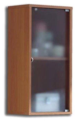 Armario aéreo para baño o aseo para colgar en pared con puerta de cristal y estante interior, cerezo