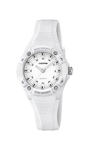 Calypso Reloj unisex de cuarzo con blanco esfera analógica pantalla y correa de plástico color blanco K5675/1