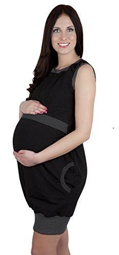 Mija - 3 in1 Umstandskleid & Stillkleid & Kleid / Elegantes Shirtkleid Schwangerschaftskleid Fiona 7111 Schwarz / Melange