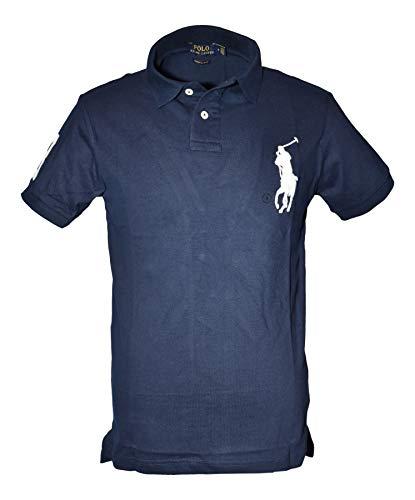 Ralph Lauren Poloshirts Big Pony Custom Slim Fit Polo Piqué schwarz, weiß, blau (L, Blau)