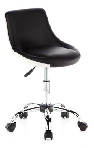 hjh OFFICE 685955 Jugend Drehstuhl STEADY Kunstleder Schwarz/Weiß Bürostuhl Schreibtischstuhl höhenverstellbar, ohne Armlehne