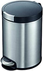 EKO Artistic 8-Liter, Fingerprint Resistant Brushed Stainless Steel Finish, Round Step Waste Bin with Soft Clo