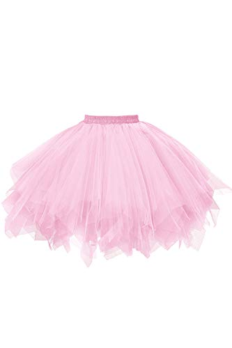 MuseverBrand 50er Vintage Ballet Blase Firt Tulle Petticoat Puffy Tutu Pink - Damen Jazz Kostüm