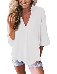 ASSKDAN Blouse Femme Tops Uni Chemise à Manches Lanterne Femmes Tunique Chic  Mousseline T-Shirt 304dba92896a